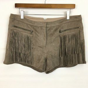 Fate faux suede fringe shorts mocha brown L
